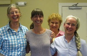 State program coordinator Alycia Crall with HMN leaders Sandy Greene, RoxAnna Theiss and Barb Frew, July 2013