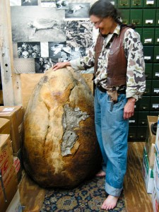 Carol Ruckdeschel next to a loggerhead turtle shell, 2007