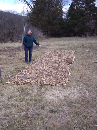 Ann and a freshly mulched future garden bed.