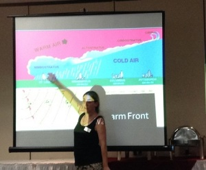 Kate presenting on weather in September 2014.