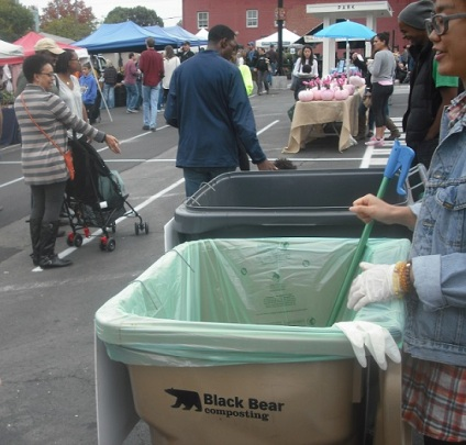 One of four Charlottesville compost drop-off program stations