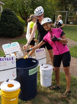 """Zero Waste"" station at the Shenandoah Valley Century rest stop at Seven Bridges Park in Bridgewater on September 11."