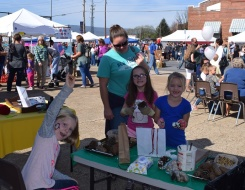 Some of Rachael's Girl Scouts visiting the HMN table. Photo by Rachael.