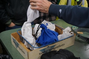 After capture the owls are placed into bags and brought to the lab.
