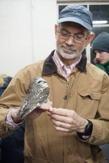 After processing this owl is ready for release. HMN John Bauman is holding the owl.