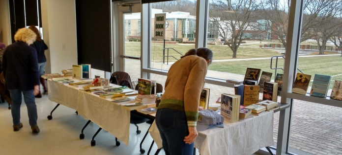 Ann at he book sale table.